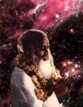 Holiness Maharishi Mahesh Yogi with background of Tarantula Nebula in our galactic neighbor, the Large Magellanic Cloud. Maharishi appears to be holding the cluster of brilliant, massive stars, known to astronomers as Hodge 301.